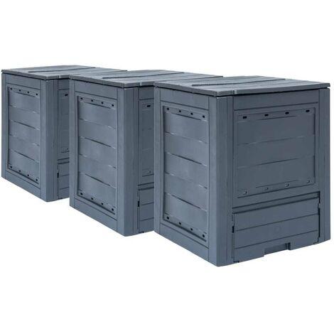 Hommoo Compostadores de jardín 3 unidades gris 780 L 60x60x73 cm