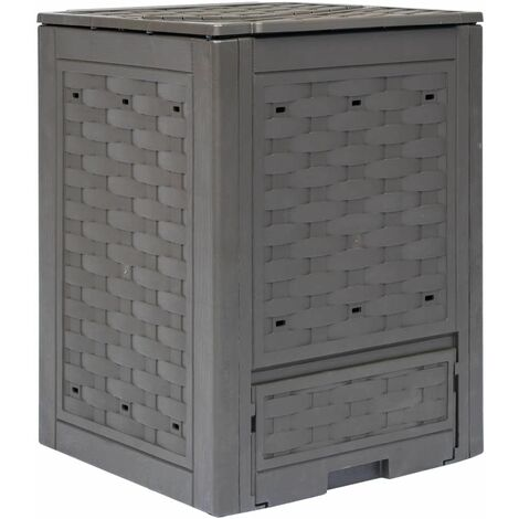 Hommoo Composteur de jardin Marron 60x60x83 cm 300 L HDV29806