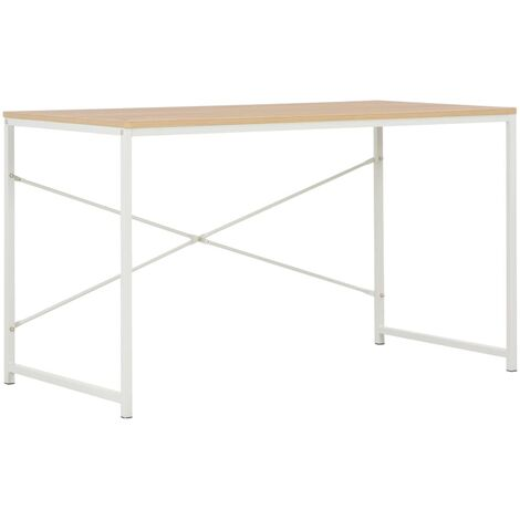 Hommoo Computer Desk White and Oak 120x60x70 cm QAH07551