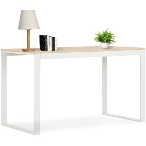 Hommoo Computer Desk White and Oak 120x60x73 cm