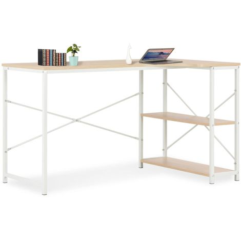 Hommoo Computer Desk White and Oak 120x72x70 cm