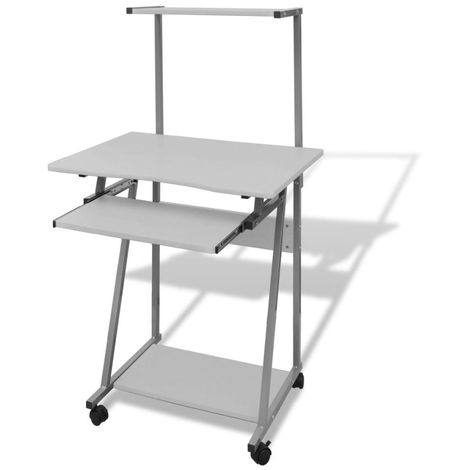Hommoo Computer Desk With Pull-out Keyboard Tray and Top Shelf White