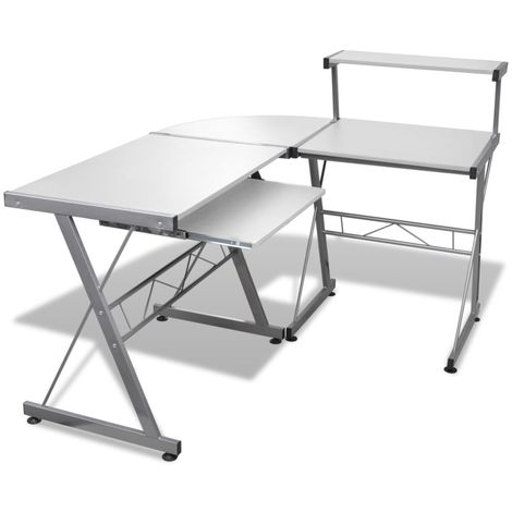 Hommoo Computer Desk with Pull-out Keyboard Tray L-shaped White