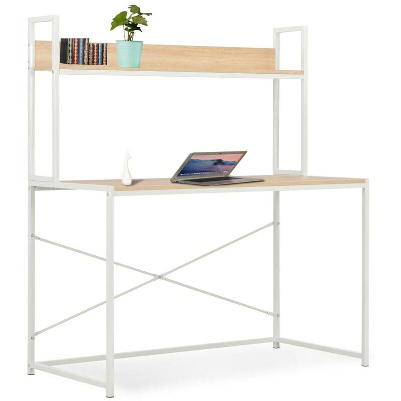Hommoo Computertisch Weiß und Eiche 120x60x138 cm VD33053