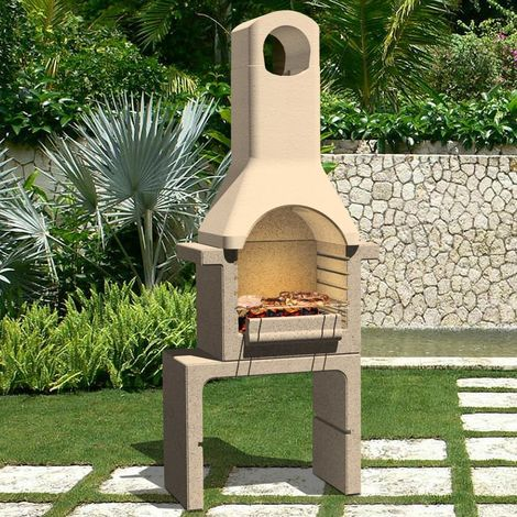 Hommoo Concrete Charcoal BBQ Stand with Chimney