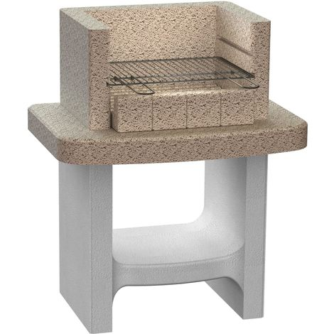 Hommoo Concrete Charcoal BBQ Stand with Shelf