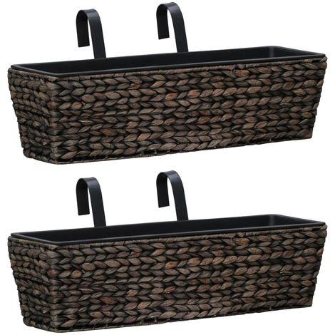 Hommoo Conjunto de jardineras 2 unidades jacinto de agua marrón