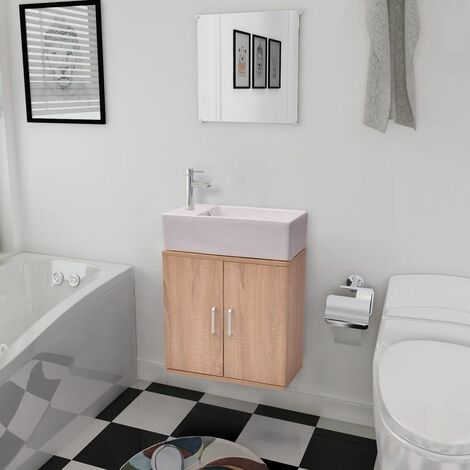 Hommoo Conjunto de mueble y lavabo 3 piezas beige HAXD15785