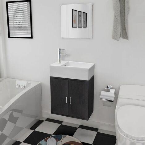 Hommoo Conjunto de mueble y lavabo negro 3 piezas HAXD15784