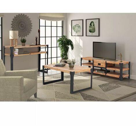 Hommoo Conjunto de muebles de salón 3 piezas madera maciza de acacia