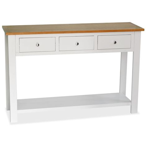 Hommoo Console Table 118x35x77 cm Solid Oak Wood