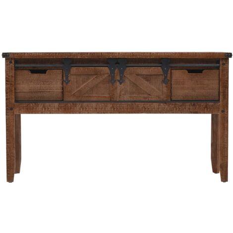 Hommoo Console Table Solid Fir Wood 131x35.5x75 cm Brown QAH12058