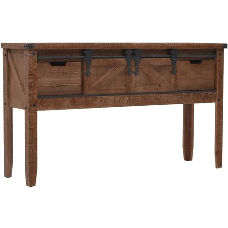 Hommoo Console Table Solid Fir Wood 131x35.5x75 cm Brown VD12058