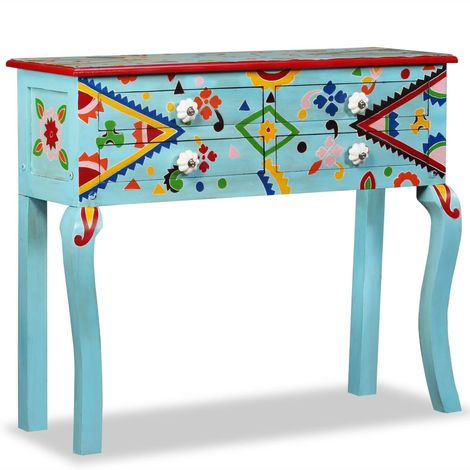 Hommoo Console Table Solid Mango Wood Blue Hand Painted