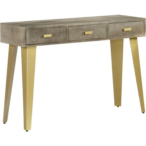 Hommoo Console Table Solid Mango Wood Grey with Brass 110x35x76 cm