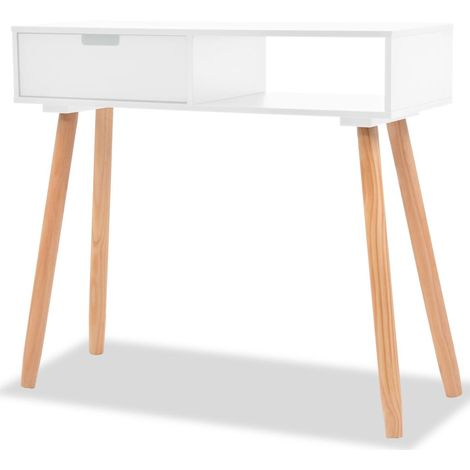 Hommoo Console Table Solid Pinewood 80x30x72 cm White