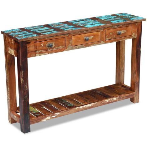 Hommoo Console Table Solid Reclaimed Wood 120x30x76 cm