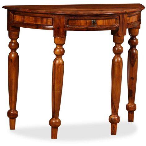 Hommoo Console Table Solid Sheesham Wood 90x40x76 cm Half Round