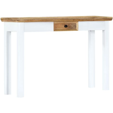 Hommoo Console Table White and Brown 110x35x75 cm Solid Mango Wood