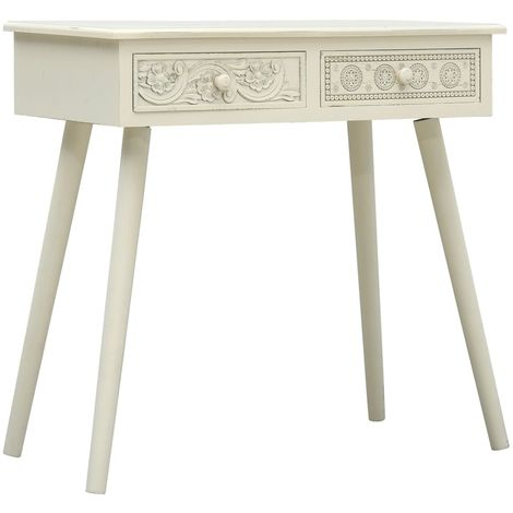 Hommoo Console Table with 2 Drawers Carving Grey 80x40x77.8 cm Wood