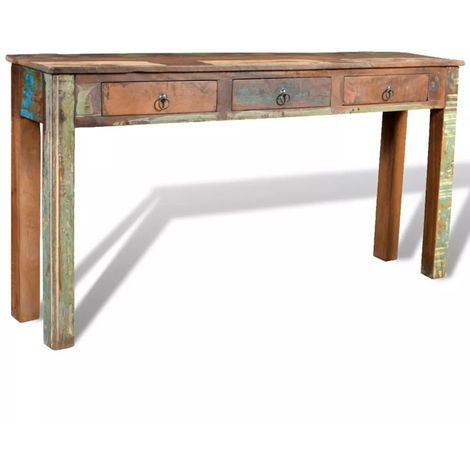Hommoo Console Table with 3 Drawers Reclaimed Wood