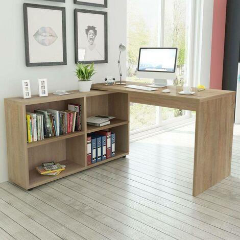 Hommoo Corner Desk 4 Shelves Oak