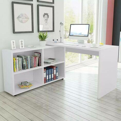 Hommoo Corner Desk 4 Shelves White
