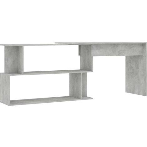 Hommoo Corner Desk Concrete Grey 200x50x76 cm Chipboard QAH47438