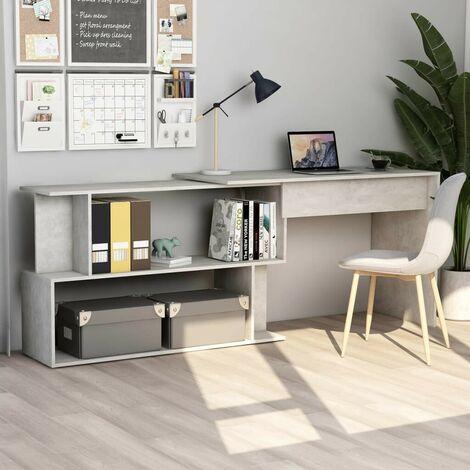 Hommoo Corner Desk Concrete Grey 200x50x76 cm Chipboard VD47438