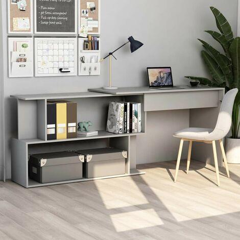 Hommoo Corner Desk Grey 200x50x76 cm Chipboard VD47436