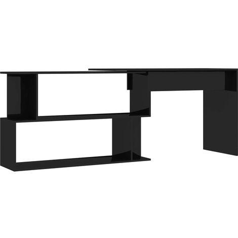 Hommoo Corner Desk High Gloss Black 200x50x76 cm Chipboard QAH47441