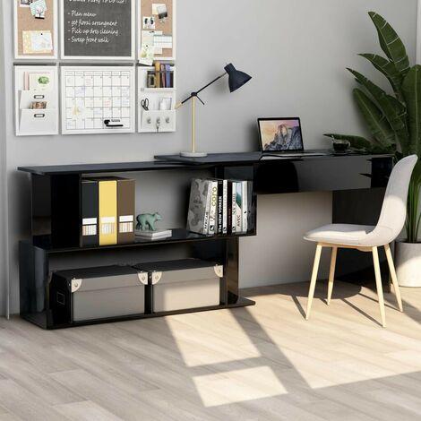 Hommoo Corner Desk High Gloss Black 200x50x76 cm Chipboard VD47441