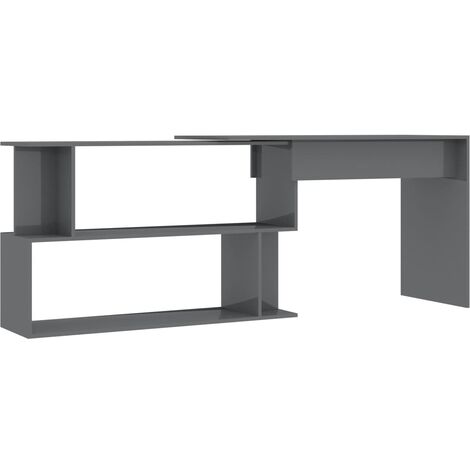 Hommoo Corner Desk High Gloss Grey 200x50x76 cm Chipboard QAH47442