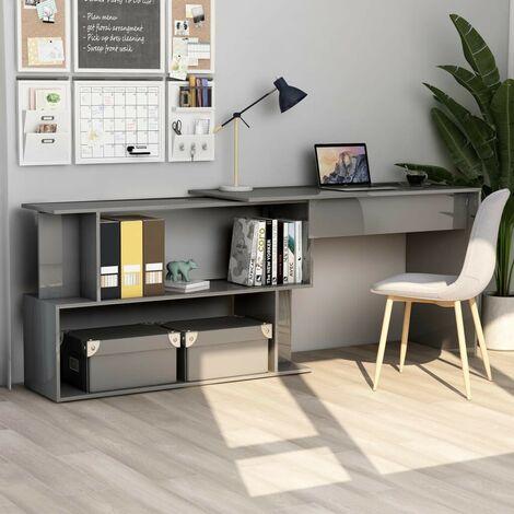 Hommoo Corner Desk High Gloss Grey 200x50x76 cm Chipboard VD47442
