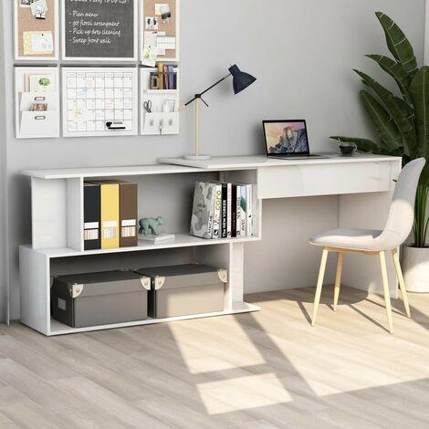 Hommoo Corner Desk High Gloss White 200x50x76 cm Chipboard VD47440