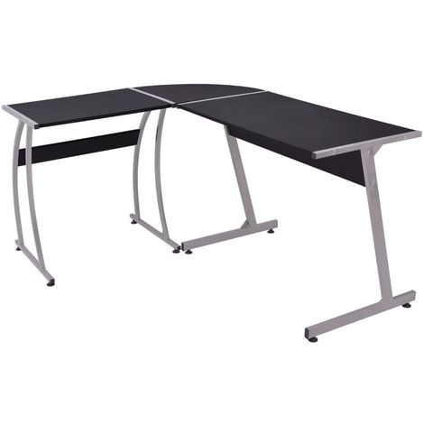 Hommoo Corner Desk L-Shaped Black VD07439
