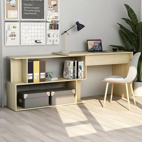Hommoo Corner Desk Sonoma Oak 200x50x76 cm Chipboard