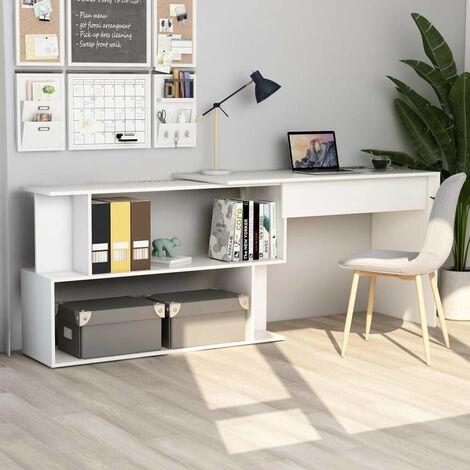 Hommoo Corner Desk White 200x50x76 cm Chipboard VD47434