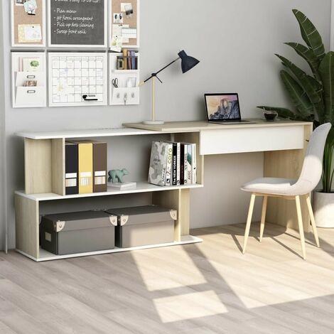 Hommoo Corner Desk White and Sonoma Oak 200x50x76 cm Chipboard VD47439