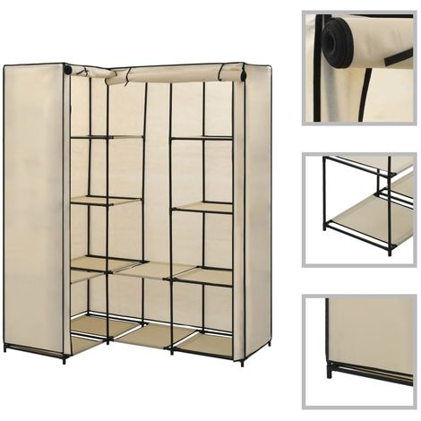 Hommoo Corner Wardrobe Cream 130x87x169 cm VD23564