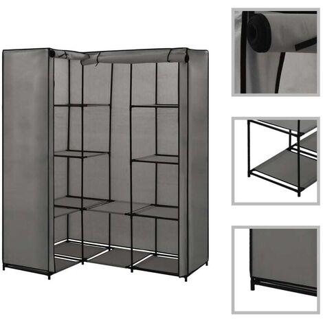 Hommoo Corner Wardrobe Grey 130x87x169 cm