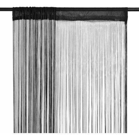 Hommoo Cortinas de flecos 2 piezas 100x250 cm negras HAXD01599