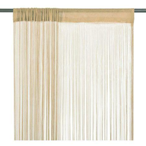 Hommoo Cortinas de flecos 2 piezas 140x250 cm beige