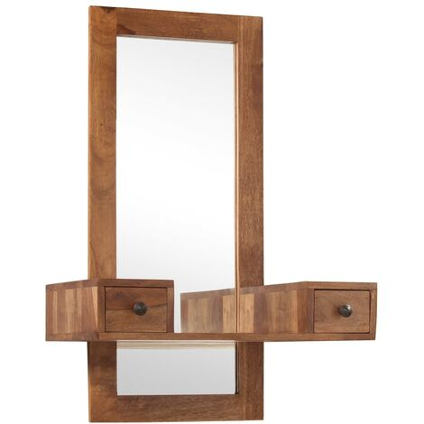 Hommoo Cosmetic Mirror with 2 Drawers Solid Sheesham Wood QAH12198