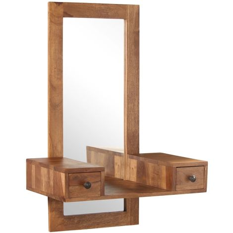 Hommoo Cosmetic Mirror with 2 Drawers Solid Sheesham Wood VD12198