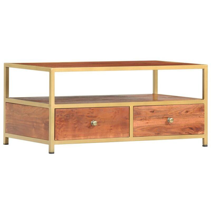 Hommoo Couchtisch 90 x 50 x 40 cm Massivholz Akazie VD36656