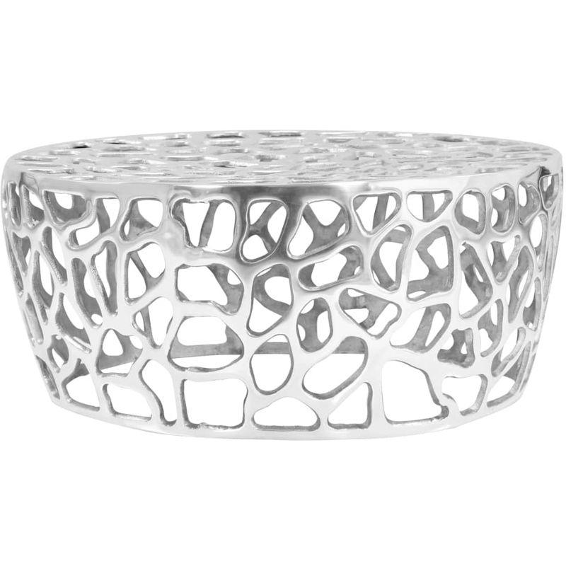 Hommoo Couchtisch Aluminiumguss 70 x 30 cm Silbern VD12444