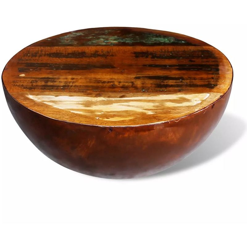 Couchtisch Halbkugel mit Stahlboden Recyceltes Massivholz VD08884 - Hommoo