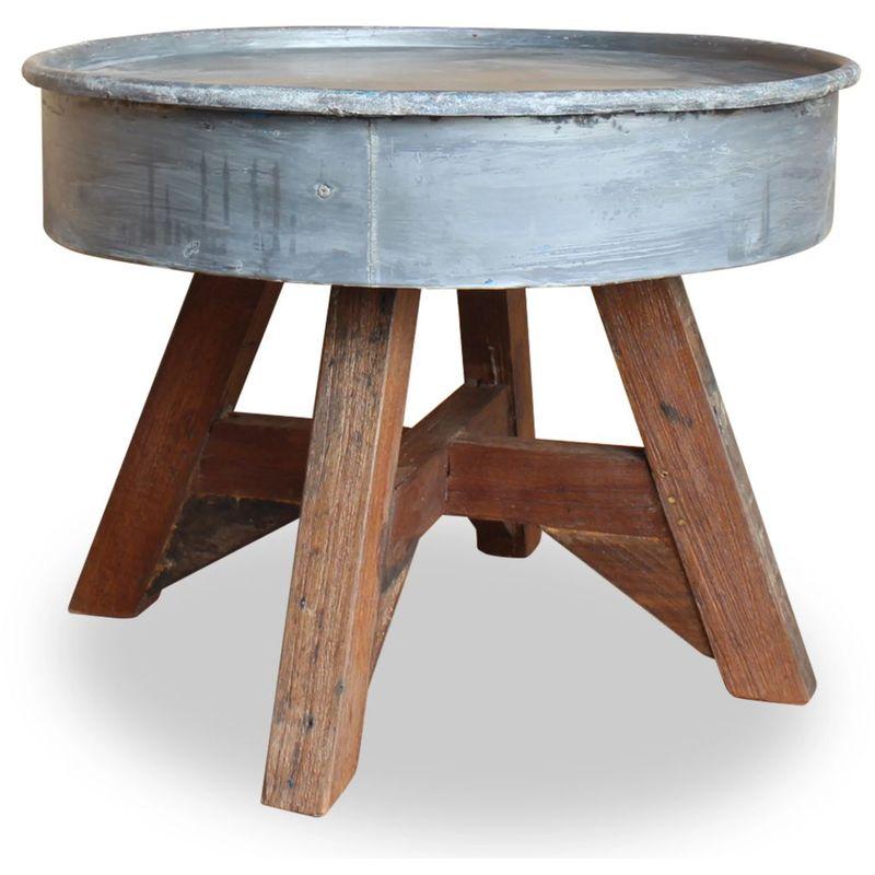 Hommoo Couchtisch Massiv-Altholz 60 x 45 cm Silber VD10614
