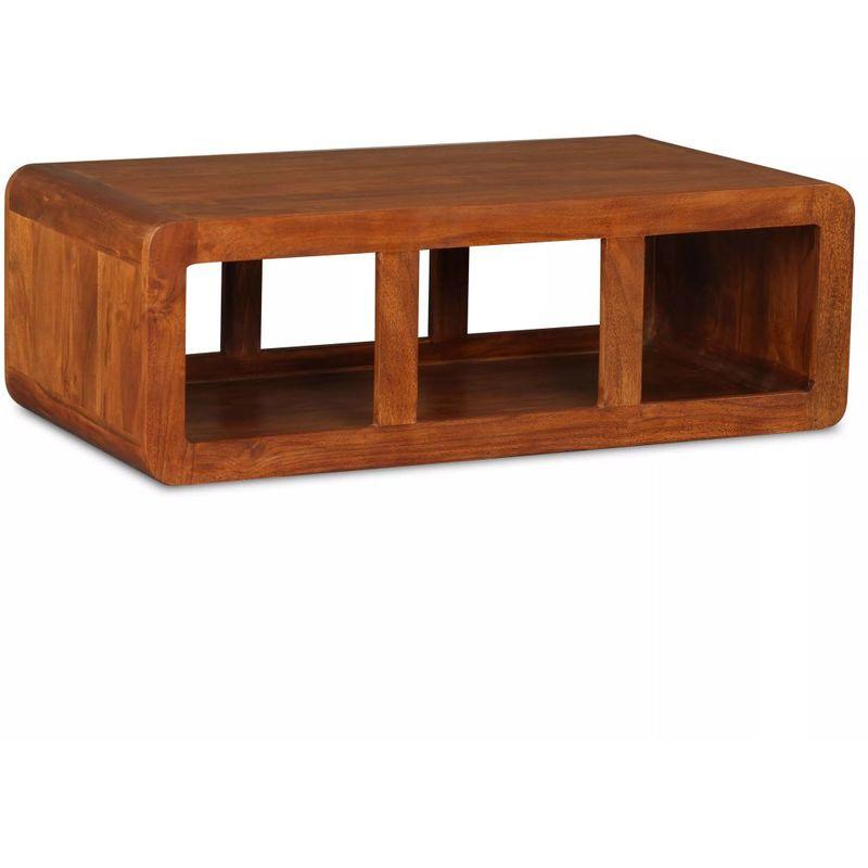 Hommoo Couchtisch Massivholz mit Sheesham-Finish 90 x 50 x 30 cm VD10745